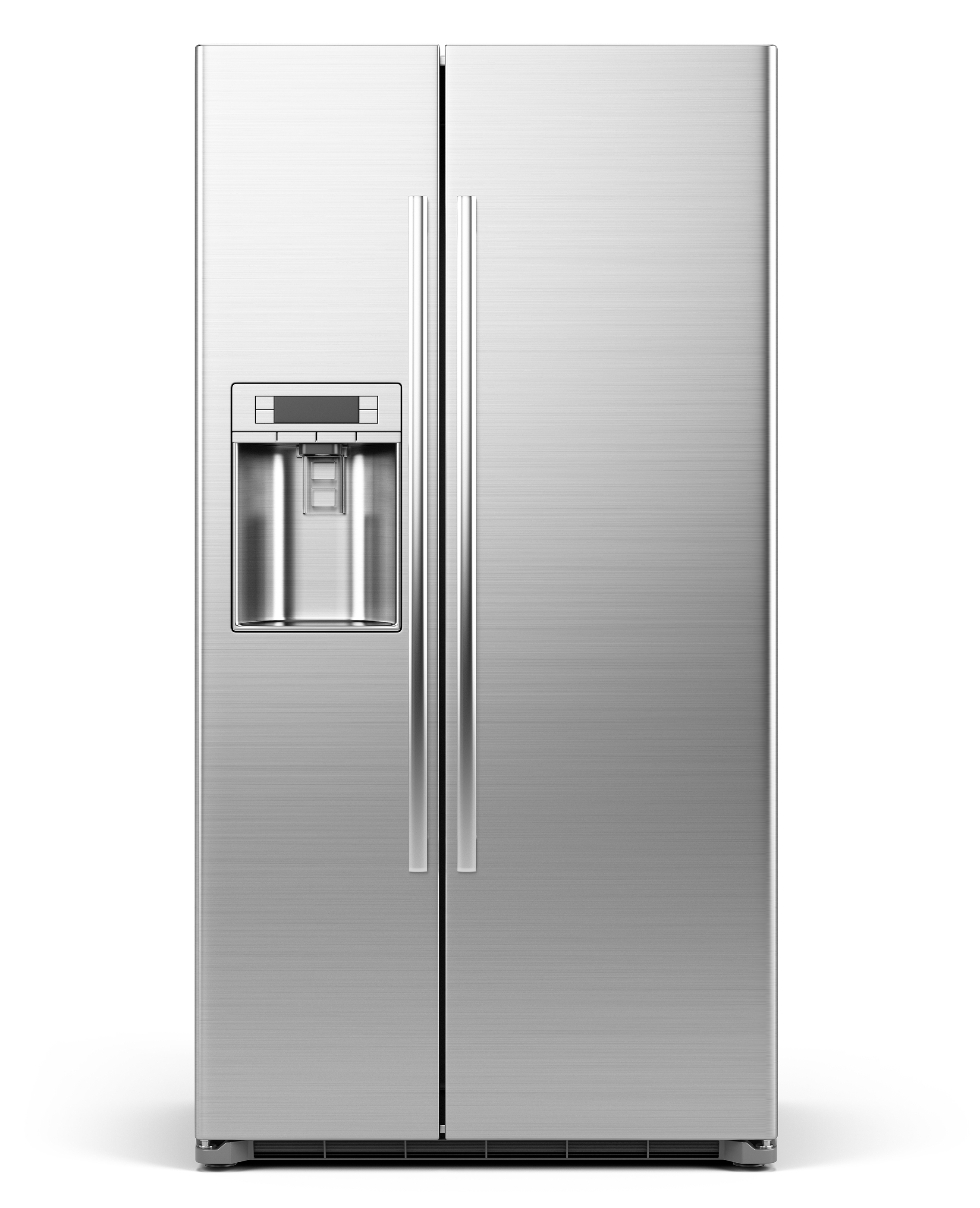 Front View of Modern side by side Stainless Steel Refrigerator .